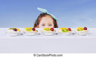 κέηκ , μικρός , φρούτο , κορίτσι