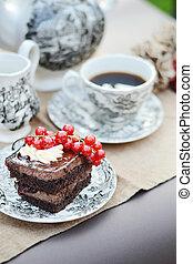κέηκ , υπηρέτησα , καφέs , σοκολάτα , κύπελο