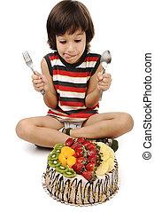 κέηκ , φρούτο , επεξεργάζομαι , παιδί , τρώγω