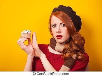 κέηκ, φόντο, κορίτσι, κίτρινο, κοκκινομάλλης