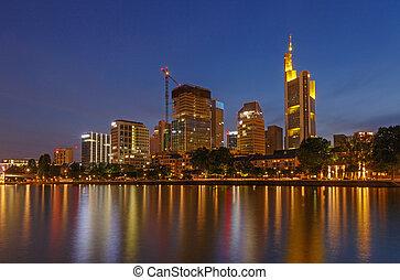 κέντρο , από , frankfurt βρίσκομαι βασικός , τη νύκτα