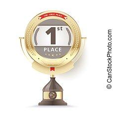 κέντρο στόχου βραβείο , για , πρώτα , place., μικροβιοφορέας , εικόνα