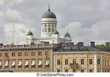 κέντρο της πόλης , χέλσινκι , ταξιδεύω , φινλανδία , γραμμή ορίζοντα , cathedral., tuomiokirkko