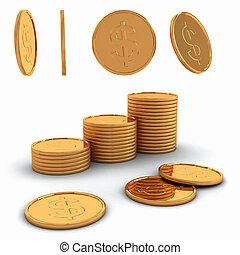 κέρματα , 3d , απόδοση , δολάριο , χρυσός