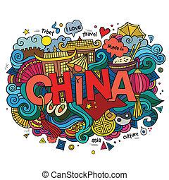 κίνα , χέρι , γράμματα , και , doodles, στοιχεία , φόντο. ,...