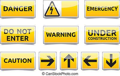 κίνδυνοs , είδος μικρού αυτοκινήτου , θέτω , βάφω κίτρινο αναχωρώ