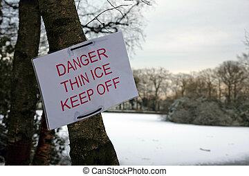 κίνδυνοs , λεπτός , πάγοs , σήμα