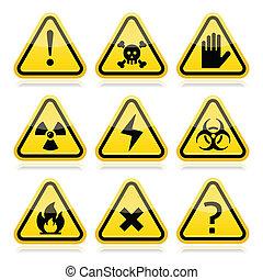 κίνδυνοs , ριψοκινδυνεύω , δηλοποίηση τριγωνικό σήμαντρο , σήμα