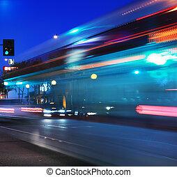 κίνηση , τρέχει με ταχύτητα , λεωφορείο , θολός