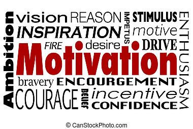 κίνητρο , λέξη , κολάζ , οδηγώ , ενθάρρυνση , φιλοδοξία ,...