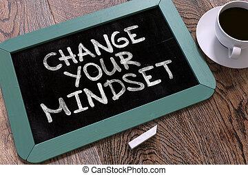 κίνητρο , μνημονεύω , mindset., chalkboard., δικό σου , αλλαγή