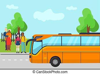 κίτρινο , γυναίκα , ηλικιωμένος , δημόσιο , αδρανές μέλος ομάδας , αναδεικνύομαι , άντραs , μικροβιοφορέας , illustration., σταματώ , transportation., άνθρωποι , ακάθιστος , λεωφορείο , bus., αναμονή , νέος