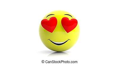 κίτρινο , emoji, με , μεγάλος ευθυμία , και , αγάπη ,...