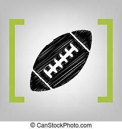 κίτρο , απλό , ποδόσφαιρο , grayish, φόντο. , αμερικανός , μαύρο , vector., γράφω απροσεκτώς , αγκάλη , ball., εικόνα