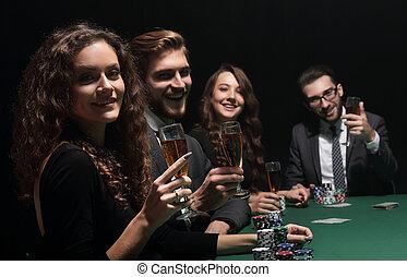 καζίνο , κάθονται , ηθοποιός , πόκερ , τραπέζι , τριγύρω