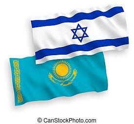 καζακστάν , ισραήλ , σημαίες , αγαθός φόντο