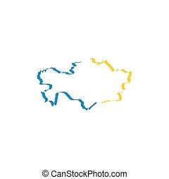 καζακστάν , χάρτηs , εικόνα , μικροβιοφορέας , σύμβολο ,...