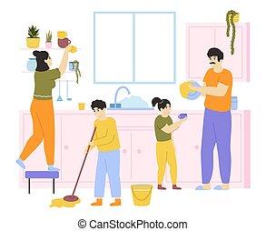 καθάρισμα , cleaning., μικροβιοφορέας , μικρόκοσμος , πλύση , μαζί , αγγαρεία , οικογένεια , νοικοκυριό , εικόνα , οικιακή εργασία , house., οικιακός