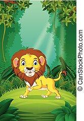 καθαρά , πράσινο , λιοντάρι , δάσοs