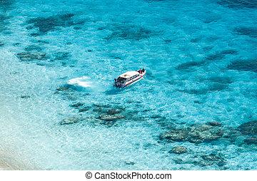 καθαρά , τροπικός , κρύσταλλο , θάλασσα , βοηθώ βάρκα