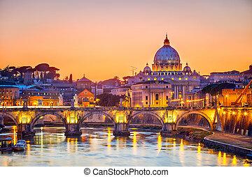 καθεδρικόs ναόs,  ST,  Peter's, νύκτα, ρώμη