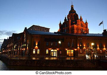 καθεδρικόs ναόs , uspenski , νύκτα , χέλσινκι