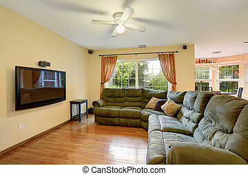 καθιστικό , απλό , καναπέs , tv., πράσινο