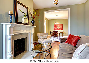 καθιστικό , καφέ , sofa., κομψός , πράσινο , εστία