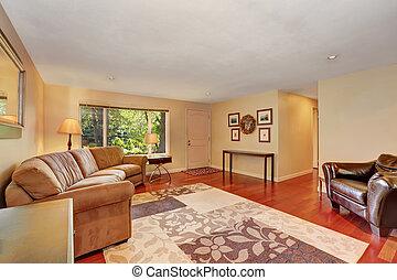 καθιστικό , κεράσι , floor., ξύλο , άνετος , αναπαυτικός