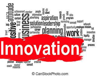καινοτομία , λέξη , σύνεφο , με , κόκκινο , σημαία