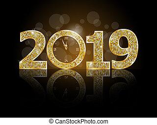 καινούργιος , ευτυχισμένος , έτος , 2019