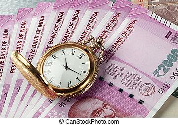 καινούργιος , ινδός , rupees, χαρτονομίσματα , με , αντίκα , ώρα , παρακολουθώ