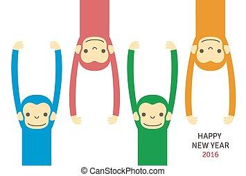 καινούργιος , μαϊμού , κάρτα , έτος