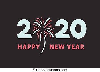 καινούργιος , πυροτέχνημα , ευτυχισμένος , 2020, έτος