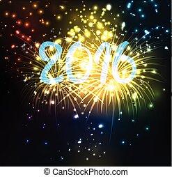 καινούργιος , πυροτέχνημα , 2016, ευτυχισμένος , έτος