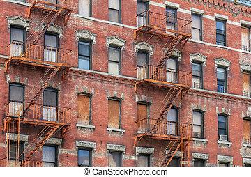 καινούργιος , πόλη , york , brownstones