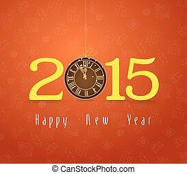 καινούργιος , ρολόι , ευτυχισμένος , χρυσός , έτος