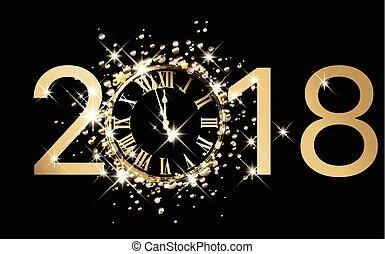 καινούργιος , φόντο , 2018, clock., έτος