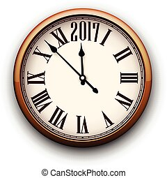 καινούργιος , 2017, στρογγυλός , clock., έτος