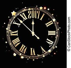 καινούργιος , 2017, φόντο , clock., έτος
