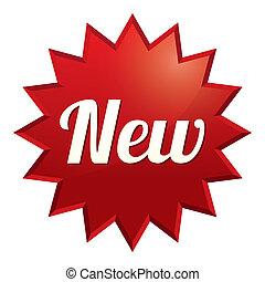 καινούργιος , tag., κόκκινο , sticker., εικόνα , για ,...