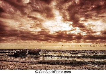 καιρόs , θάλασσα , επισκοτίζω