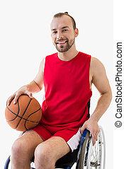 καλαθοσφαίρα , αναπηρική καρέκλα , μπάλα , φίλαθλος