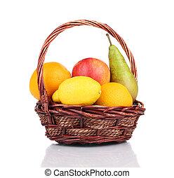 καλαθοσφαίριση , βέργα λυγαριάς , fruits., γεμάτος , ζουμερός