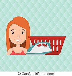 καλαθοσφαίριση , γυναίκα , μπουγάδα , γελοιογραφία