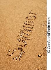 καλοκαίρι , άμμοs , λέξη , γραμμένος