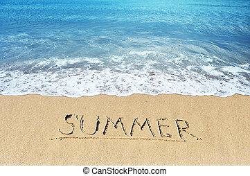 καλοκαίρι , άμμοs , λέξη