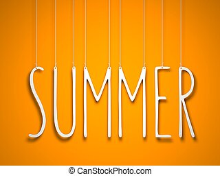 καλοκαίρι , - , άσπρο , λέξη , αιωρούμενος αναμμένος , πορτοκάλι , φόντο. , 3d , εικόνα