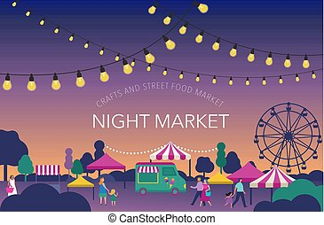 καλοκαίρι , αγορά , ειδών ή πραγμάτων αισθημάτων κλπ , αφίσα , fest, δίκαια , γιορτή , δρόμοs , νύκτα , σημαία
