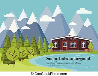 καλοκαίρι , αγρόκτημα εμπορικός οίκος , σκηνή , λίμνη , άνοιξη , αγροτικός , εξοχή , ή , τοπίο